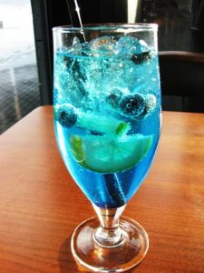 """Into the Blue"" cocktail at Lava in Reykjavik, Iceland"